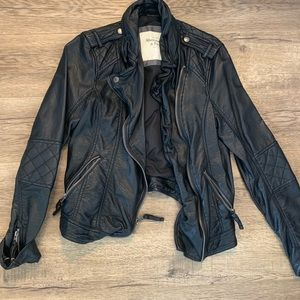 Quilted Faux Leather Jacket Abercrombie and Fitch